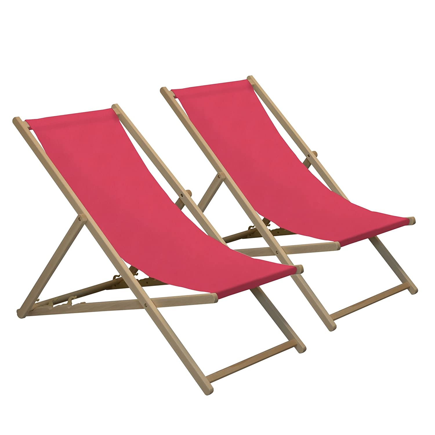 Harbour Housewares Traditional Adjustable Wooden Beach Garden Deck Chair - Pink - Pack of 2