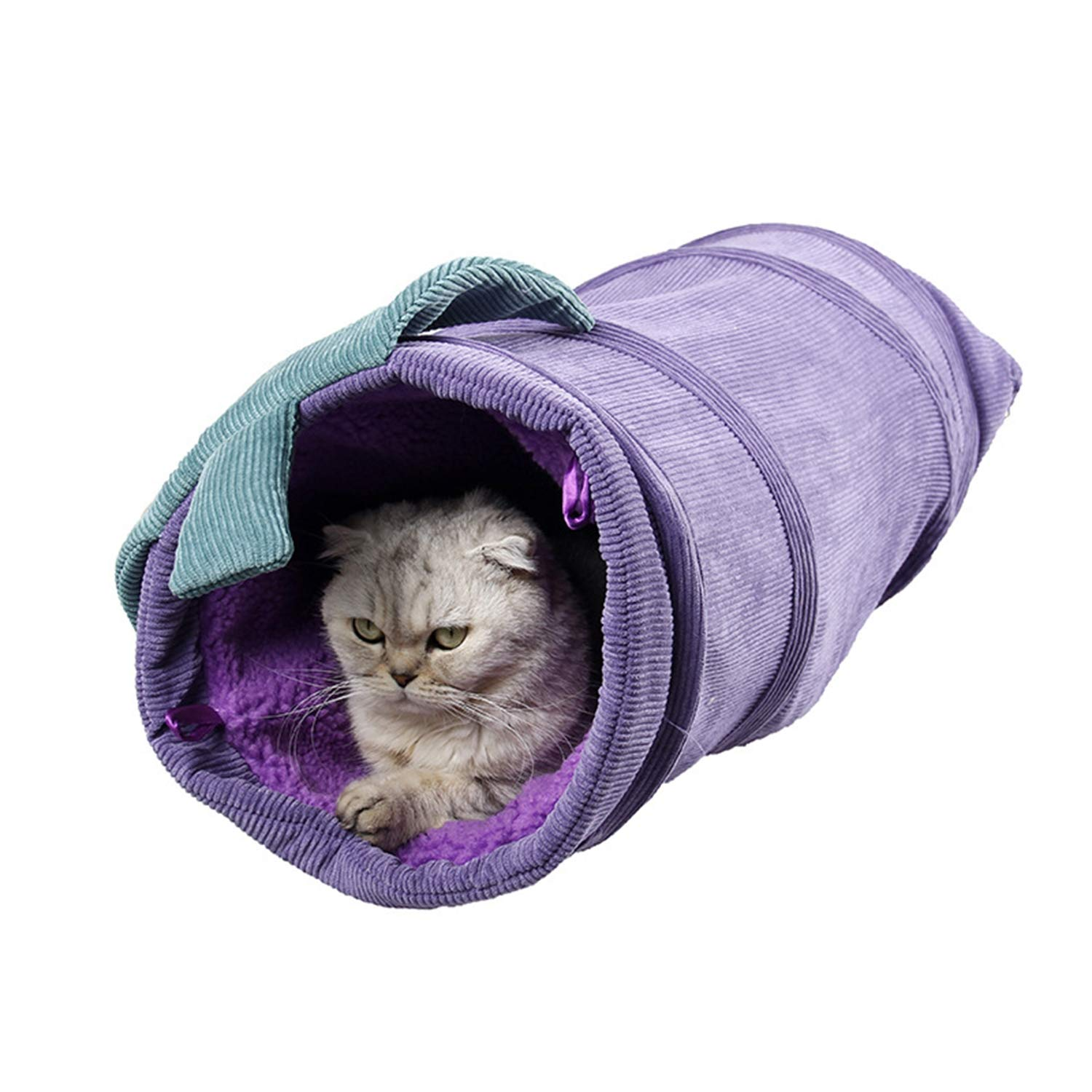 Cat Tunnel Toy,Corduroy Pet Nest Cat Toy Foldable Vegetable Type Channel to Keep Warm in Winter,Purple