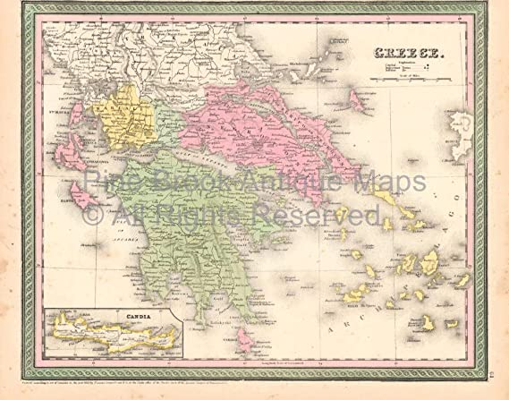 Amazon Com Greece Crete Vintage Map Desilver 1855 Authentic