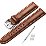 Genuine Leather Watch Strap 18mm 20mm 22mm Replacement Watch Band Polished Buckle Super Soft -Dark brown