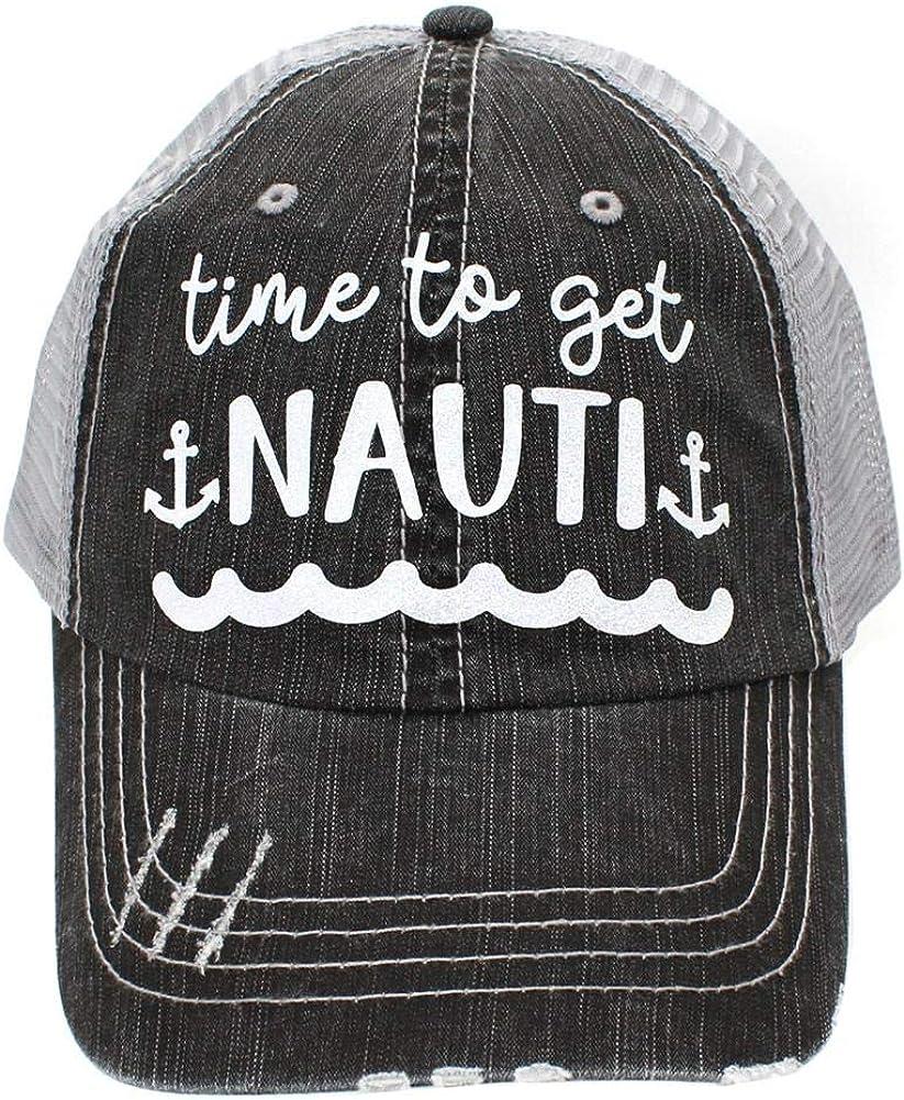 R2N fashions Time to Get Nauti Women's Distressed Lake Trucker Hats Caps Black/Grey