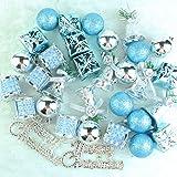 LoveInUSA 32 PCS Mixed Christmas Ball Pendant Xmas Tree Ornaments Decorations Set(Blue & Silver)