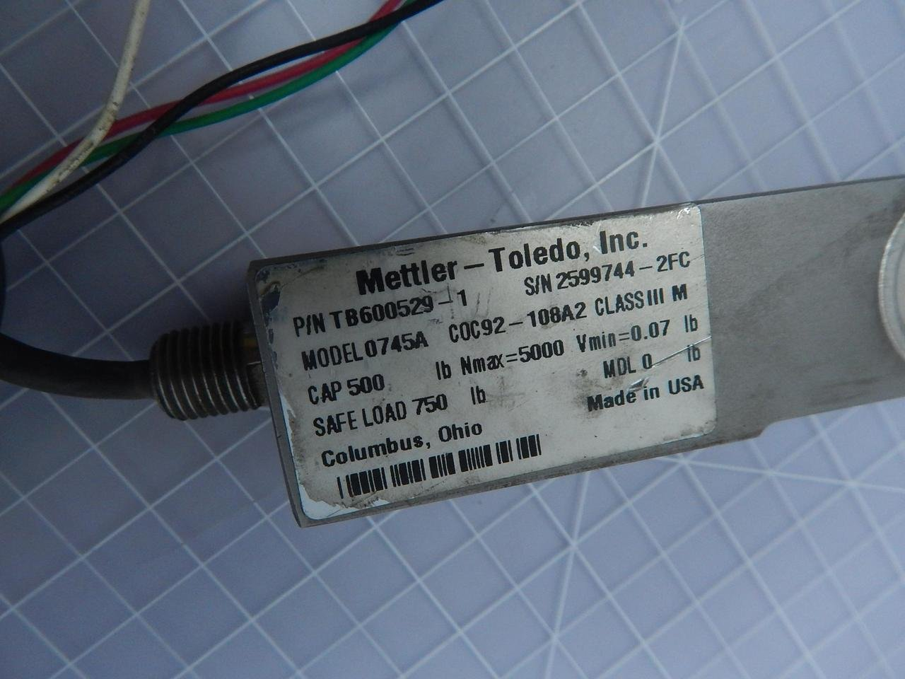 Mettler Toledo Tb600529 1 0745a Load Cell T108297 Wiring Industrial Scientific