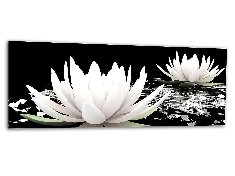 KD Dsign+ XXL Glasbild AG312500525 MURAL WASSERLILIE BLÜTE 125 x 50 cm/WANDBILD Deco Glass/Handmade
