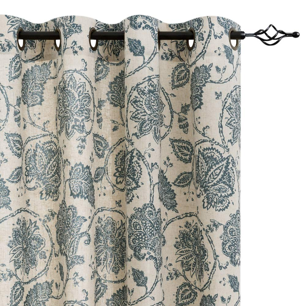 Floral Scroll Printed Linen Curtains, Grommet Top - Ikat Flax Textured Medallion Design Jacobean Floral Printed Curtains Retro Living Room Curtain Sets (Teal, 95 inch Long, One Pair)
