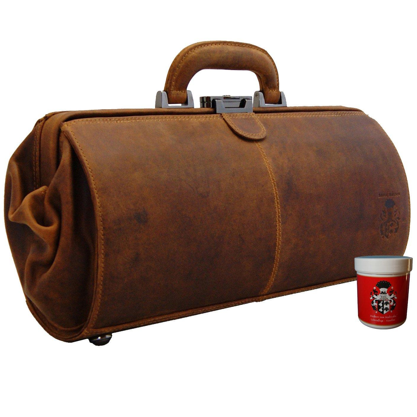 BARON de MALTZAHN - Sac de médecin SCHWEITZER cuir marron compris les soins en cuir L629mvm