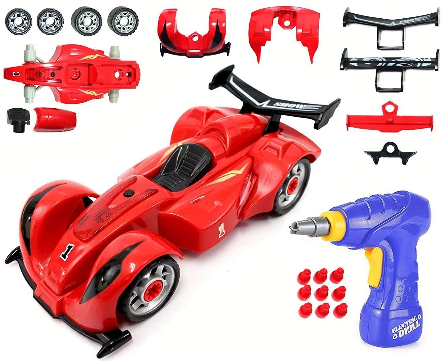 Liberty Imports Kids Take Apart Toys | Build Your Own Toy Vehicle Construction Playset | Realistic Sounds & Lights with Tools and Power Drill (Formula)
