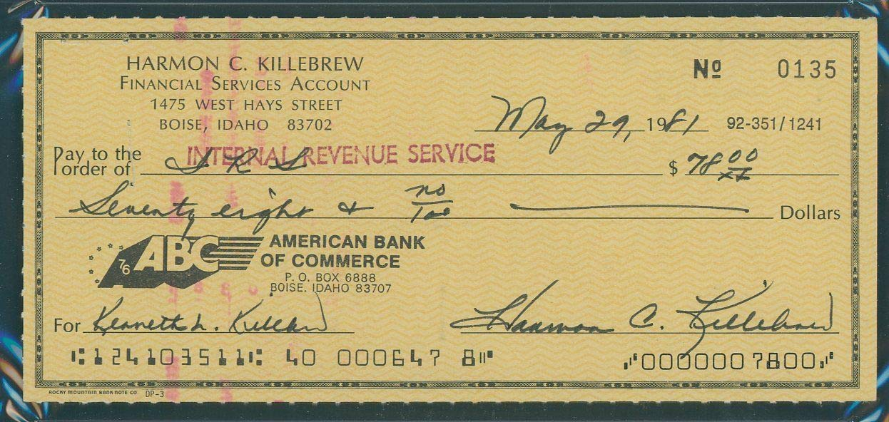 Harmon Killebrew Autographed Signed Check PSA/DNA Gem Mint 10 / May 29Th 1981 To I.R.S.