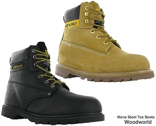 Wood World WoodWorld seguridad Goodyear piel puntera de acero (acolchado en tobillo botas de trabajo para hombre: Amazon.es: Zapatos y complementos