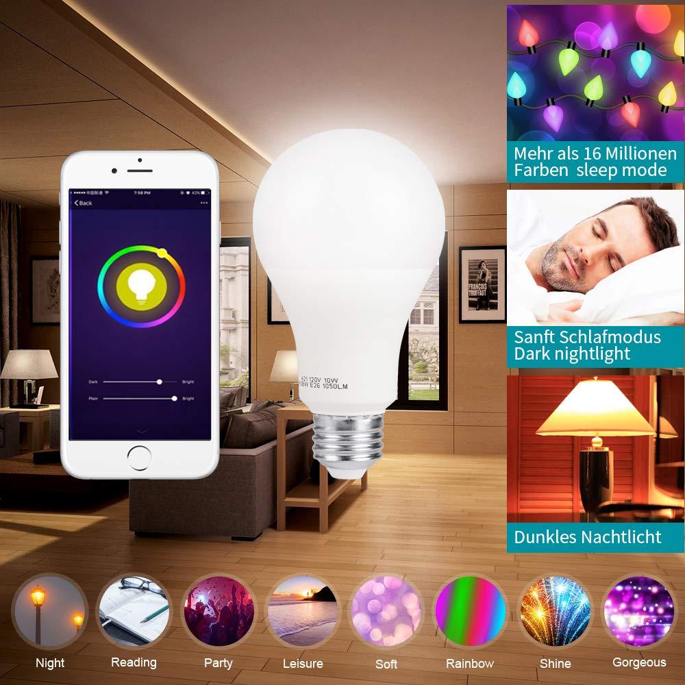 UL gelisted Dimmbare Wei/ß 100-Watt-/Äquivalent Sprach und APP Kontrollierte 1 Pack Kompatibel mit  Alexa 16 Million Multicolor Smart E27 RGBW Warmwei/ß /& Farbe LED Gl/ühbirne
