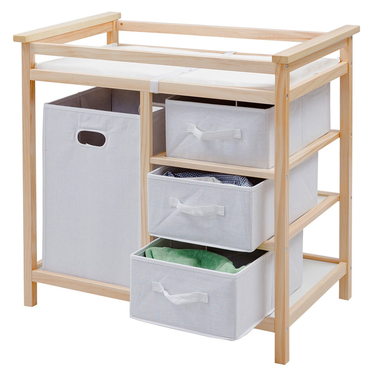 Costzon Baby Changing Table, Diaper Storage Nursery Station with Hamper and 3 Baskets (Natural+White)