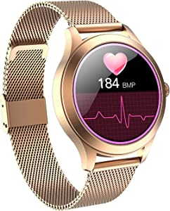 Smart Watch for Women, Full Touch Screen IP68 Waterproof, Fitness Tracker with Heart Rate Blood Pressure Oxygen Monitor Step Calorie Counter Music Control, Smartwatch for iPhone Android Phones (Gold)