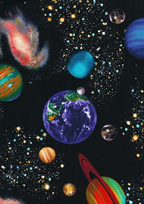 SOLAR SYSTEM Space Planets Stars Cotton Fabric Material