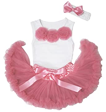 4f6a0f614e Pink Rose White Shirt Top Dusty Pink Newborn Baby Girl Pettiskirt Outfit  3-12m (White): Amazon.co.uk: Clothing