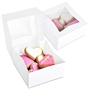 Stock Your Home 6 x 6 Inch White Pie Box with Window - 15 Count - White Small Bakery Box with Auto Pop-up Design and Window for Displaying Pastries, Cake, Pies, Cookies, and More