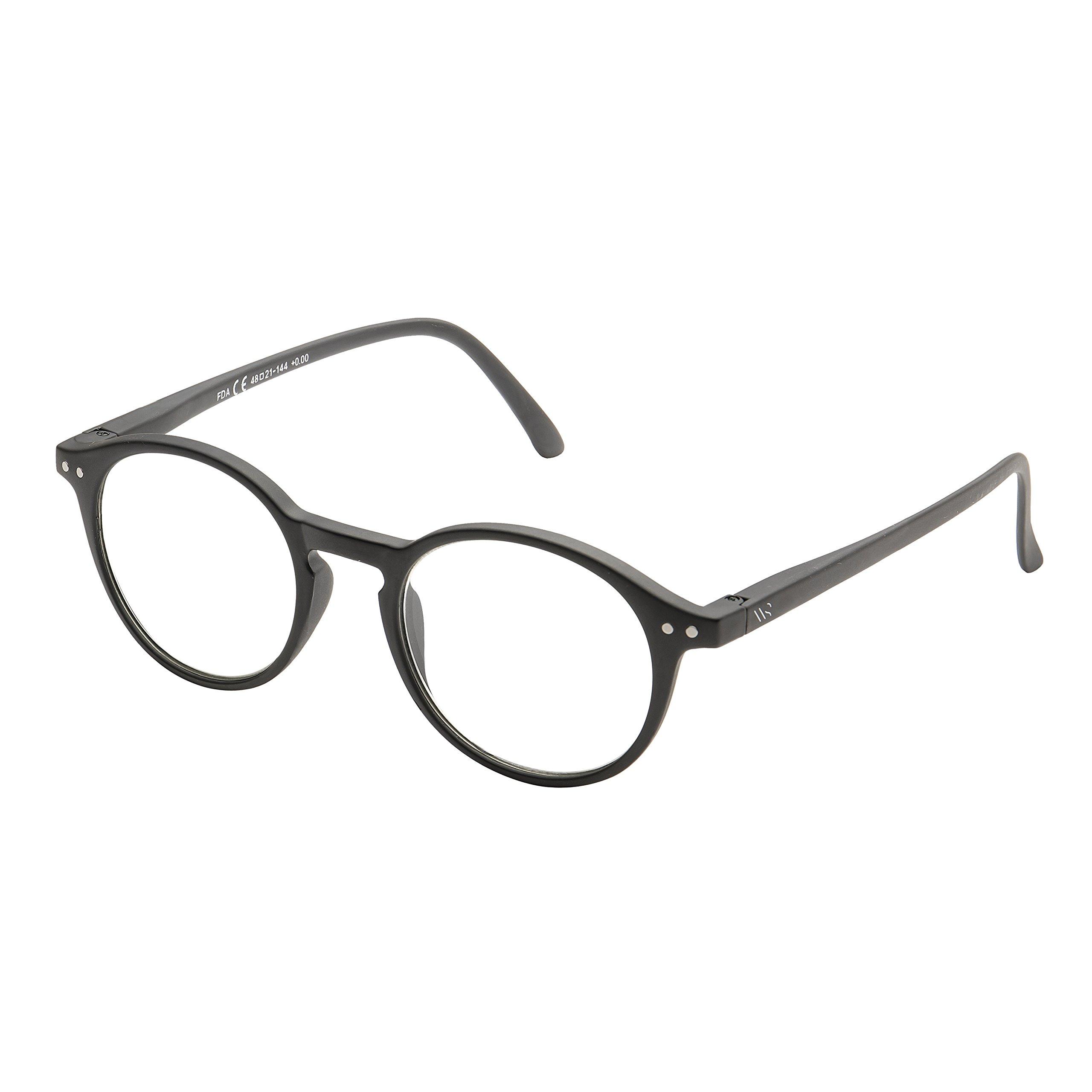 Blue Light Blocking Computer Glasses, Anti UV Eye Strain Clear Lens Reading Video Eyewear, Unisex - Black +0.00 No Magnification by WealthyShades