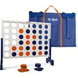 Giant 4 In A Row, 4 To Score - Premium Wooden Four Connect Game Set - Oversized Family Outdoor Party Games For Backyard, Lawn, Parties, Bar Game - Fun For Adults, Kids - Easy Set Up With Bag.