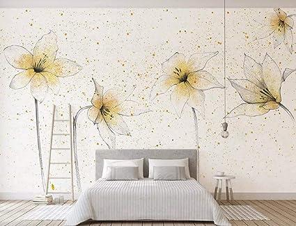 Wallpaper 3D Modern Fresh Pastoral Golden Lily Scandinavian ...