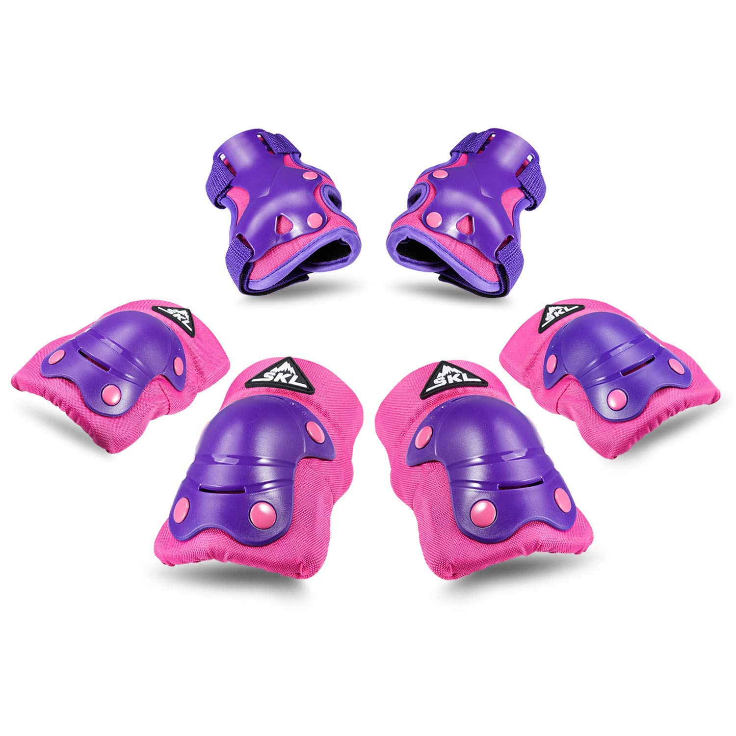 Kids Knee Pads Elbow Pads Guards Protective Gear Set for Skates Skateboard Rollerblade Roller Cycling Bike Inline Scooter Riding, Toddler Wrist Guards for Sports Purple by S.K.L