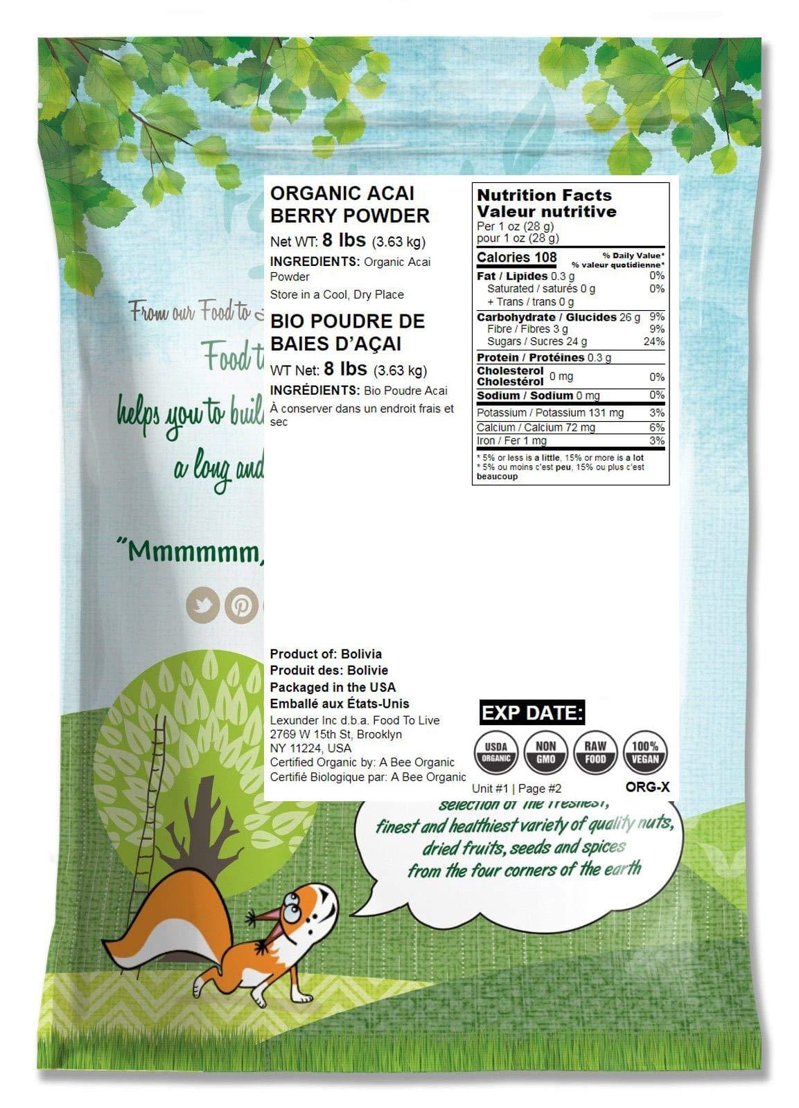 Organic Acai Berry Powder, 8 Pounds - Non-GMO, Raw, Vegan, Freeze-Dried, Unsweetened, Unsulfured, Bulk by Food to Live (Image #2)