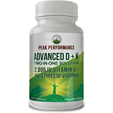 Advanced Vitamin D 2000 IU + All 3 Types of Vitamin K by Peak Performance.