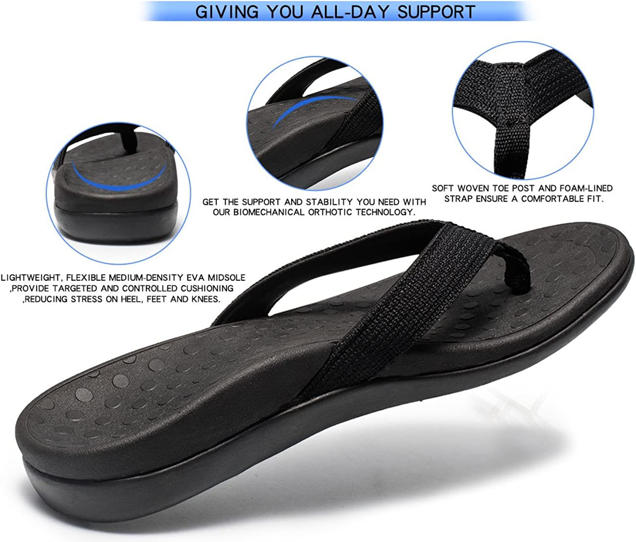 SOARFREE Plantar Fasciitis Feet Sandal with Arch Support