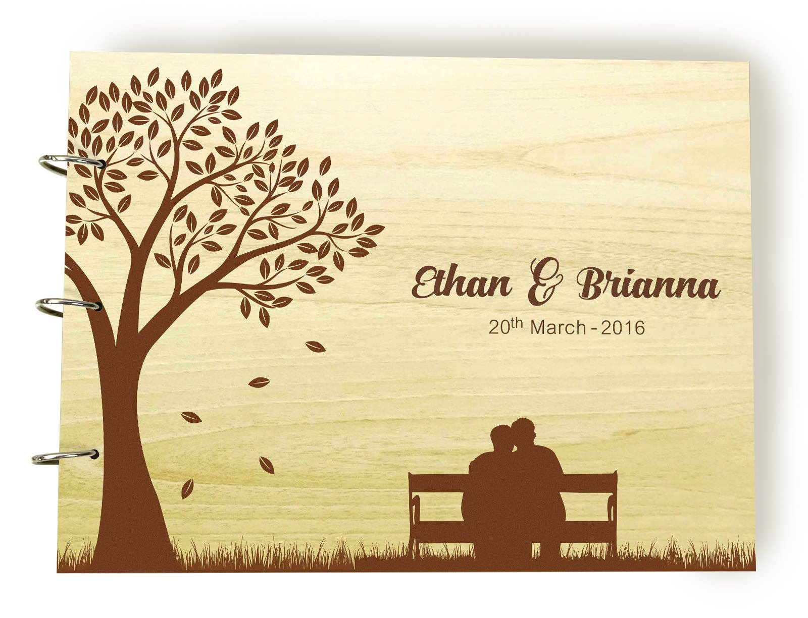 Wood Name and Date Engraved Sign in Book, Rustic Gay Wedding Guestbook, Fall Tree Leafs Custom Wedding Guest Book, Personalized Scrapbook, Couple Gift.