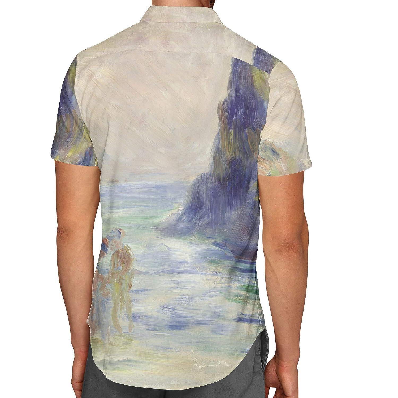 Renoir Guernsey Art Painting Mens Button Down Short Sleeve Shirt