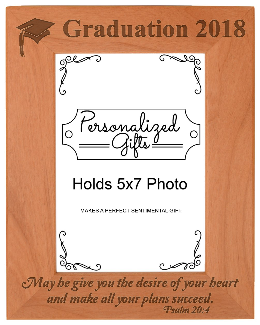 Christian Graduation 2018 May He Make All Your Plans Succeed Christian Gifts Grad Natural Wood Engraved 5x7 Portrait Picture Frame Wood