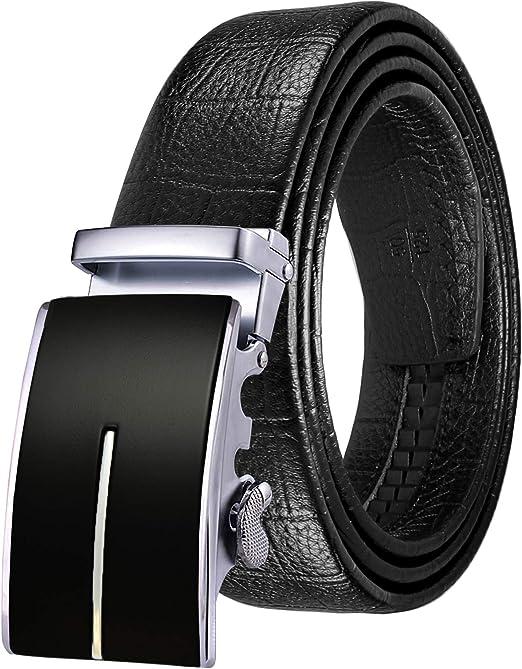 "Men/'s Belts Genuine Leather Belt Black 125cm//50/"" Casual Metal Automatic Buckles"
