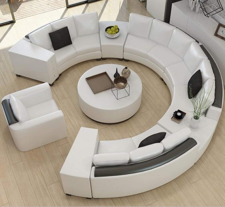 Amazon.com: Modern Curved top Grain Round Leather Sofa ...