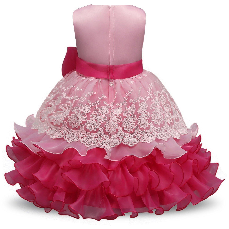 Kinderkleidung Kinder gekräuselte Spitze Partei Hochzeitskleid ...