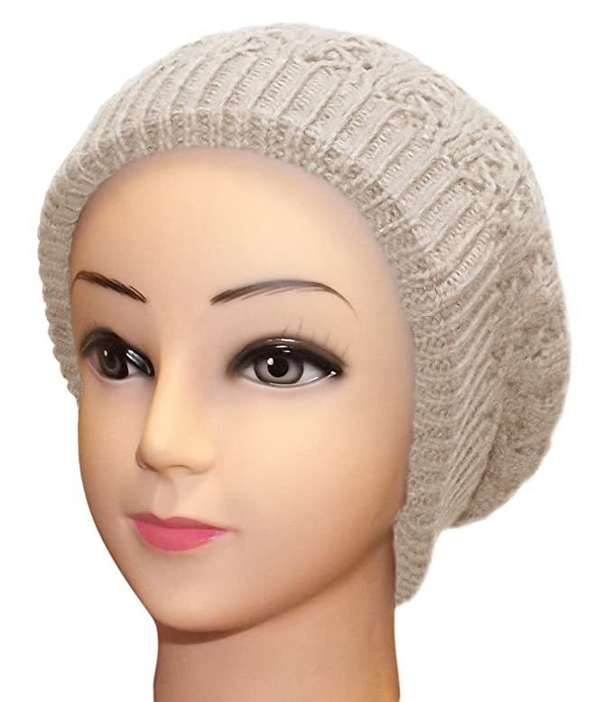 95548242df1 Peach Couture Womens Knit Thick Warm Boho Slouch Beanie Ski Hat Cap Snood ( Beige) at Amazon Women s Clothing store