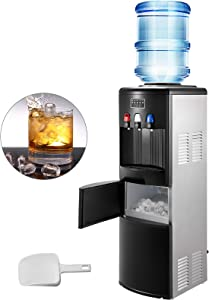 VBENLEM 2 in 1Water Cooler Dispenser with Built in Ice Maker Machine Black & Stainless Steel Top Loading 3 to 5 Gallon Bottle Electric Hot Cold Water Cooler Dispenser Machine with Ice Scoop
