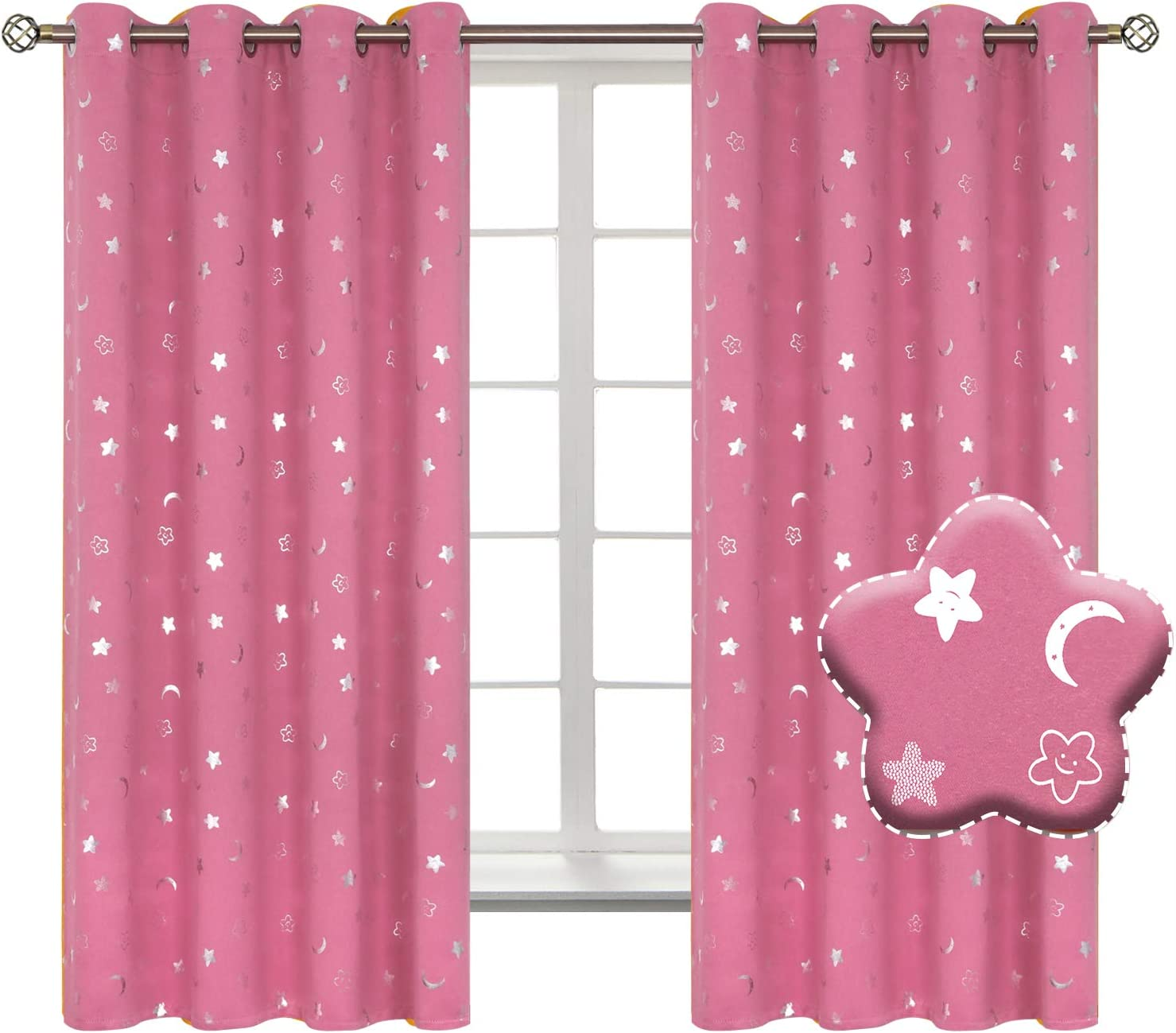 Grommet Thermal Insulated Room Darkening Printed Kids Curtains 2 Panels of 42 x 84 Inch Navy BGment Moon and Stars Blackout Curtains for Boys Bedroom