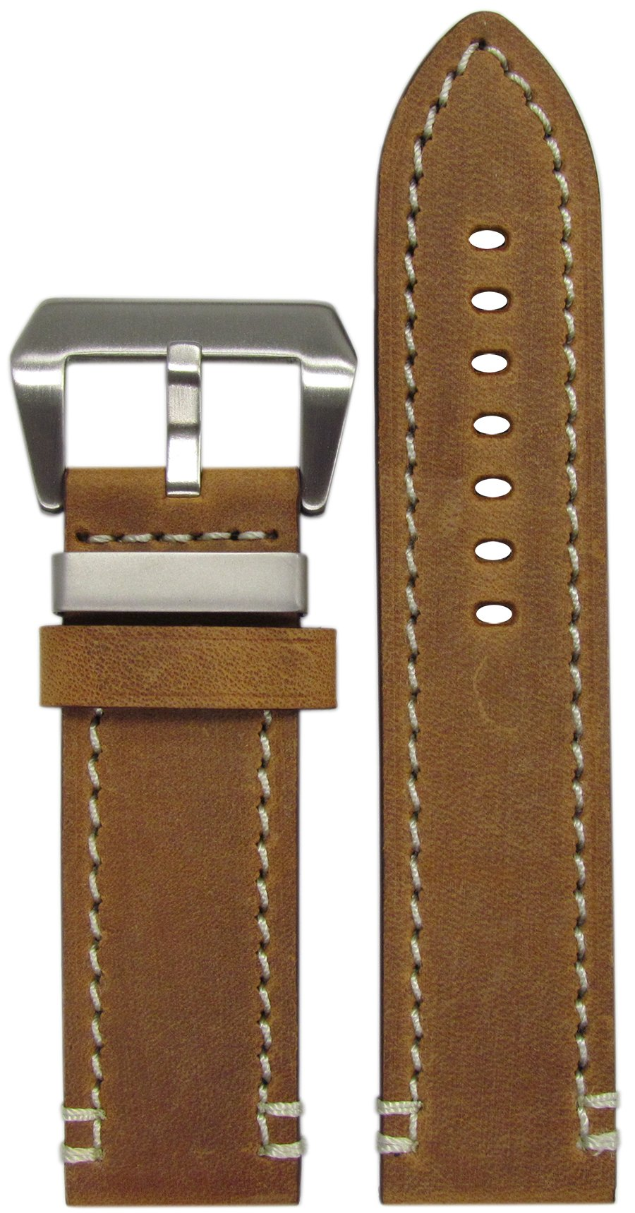 24mm XL Panatime 'Ranger' Brushed Brown Vintage Genuine Leather Watch Band with White Stitching 24/24 135/85