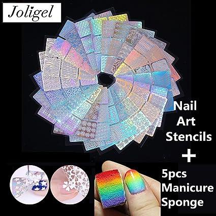 Joligel Set 144 Piezas Plantillas Moldes Uñas Pegatinas Estampación + 5 Esponjas Manicura, 72 Diseños