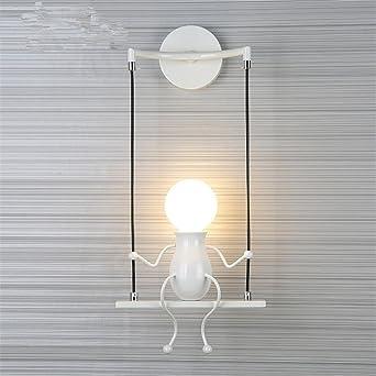 LED Moderna Lámpara de Pared。Pasillo para niños escalera lámpara de pared dormitorio creativo linterna cama cabeza lámpara de mesa creativa sala de estar lámpara de noche, blanco solo cabeza: Amazon.es: Iluminación