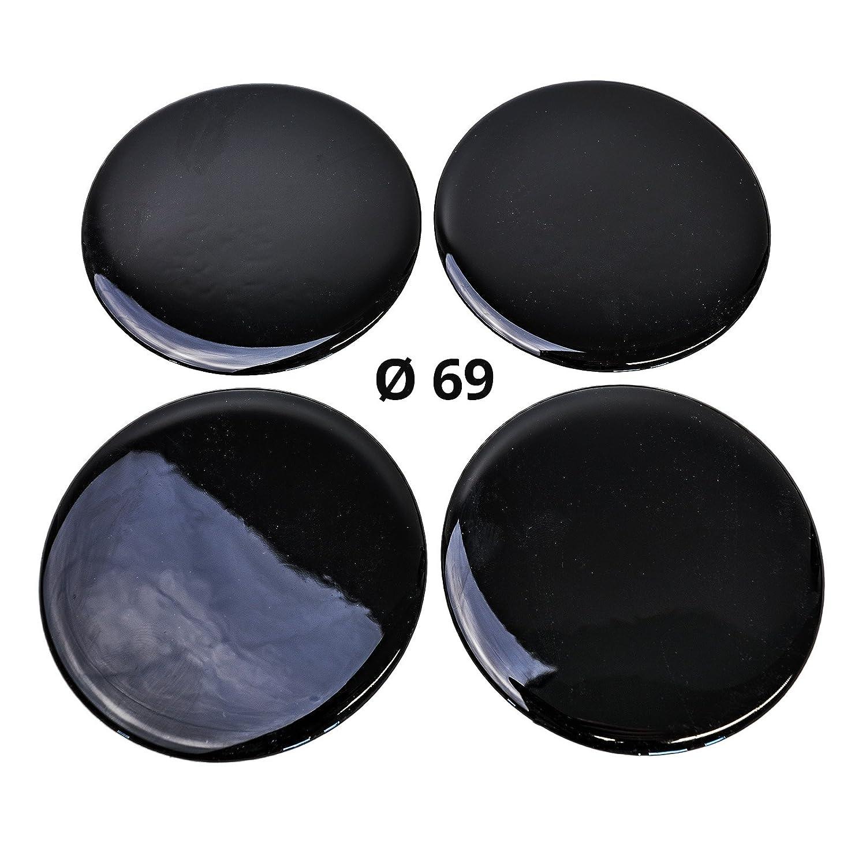 69 mm Schwarz Durchmesser 4x Silikon Aufkleber Motiv Black Embleme f/ür Nabenkappen