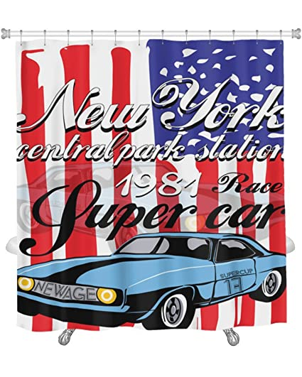 Gear New Shower Curtain Image Of Tshirt Graphics Vintage Race Car For Printing Old School