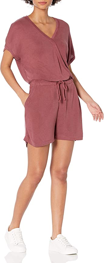 shorts Femme Daily Ritual Sandwashed Modal Blend V-neck Sleeveless Romper Marque