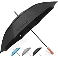 ZEKAR Premium Wooden Handle Golf Umbrella, High End 300T Fabric, Windproof Large Double Canopy, Auto Open for Men and Women, Sun UV Protection Stick Umbrellas, Perfect Big Size for Family