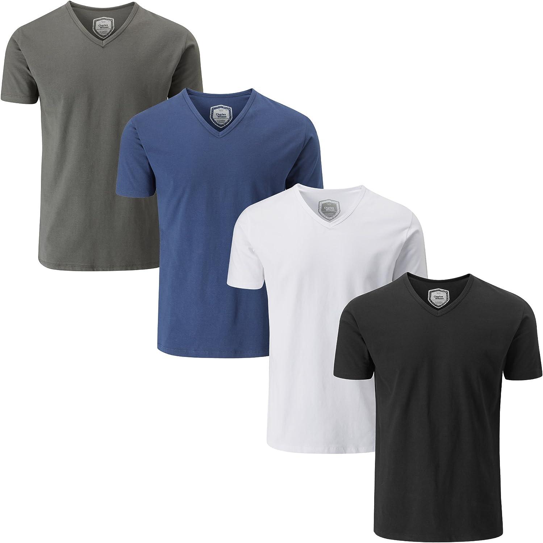 Charles Wilson Paquete 4 Camisetas Elásticas Elastano Cuello Pico