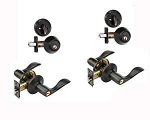 Dynasty Hardware CP-HER-12P, Heritage Front Door Entry Lever Lockset and Single Cylinder Deadbolt Combination Set, Aged Oil Rubbed Bronze - (2 Pack) - Keyed Alike