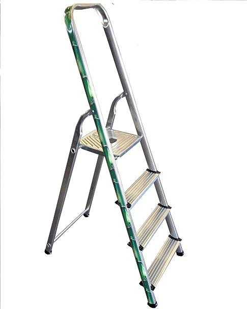 Altimat 01170224 - Escalera de uso doméstico (4 peldaños), diseño de bambú: Amazon.es: Bricolaje y herramientas