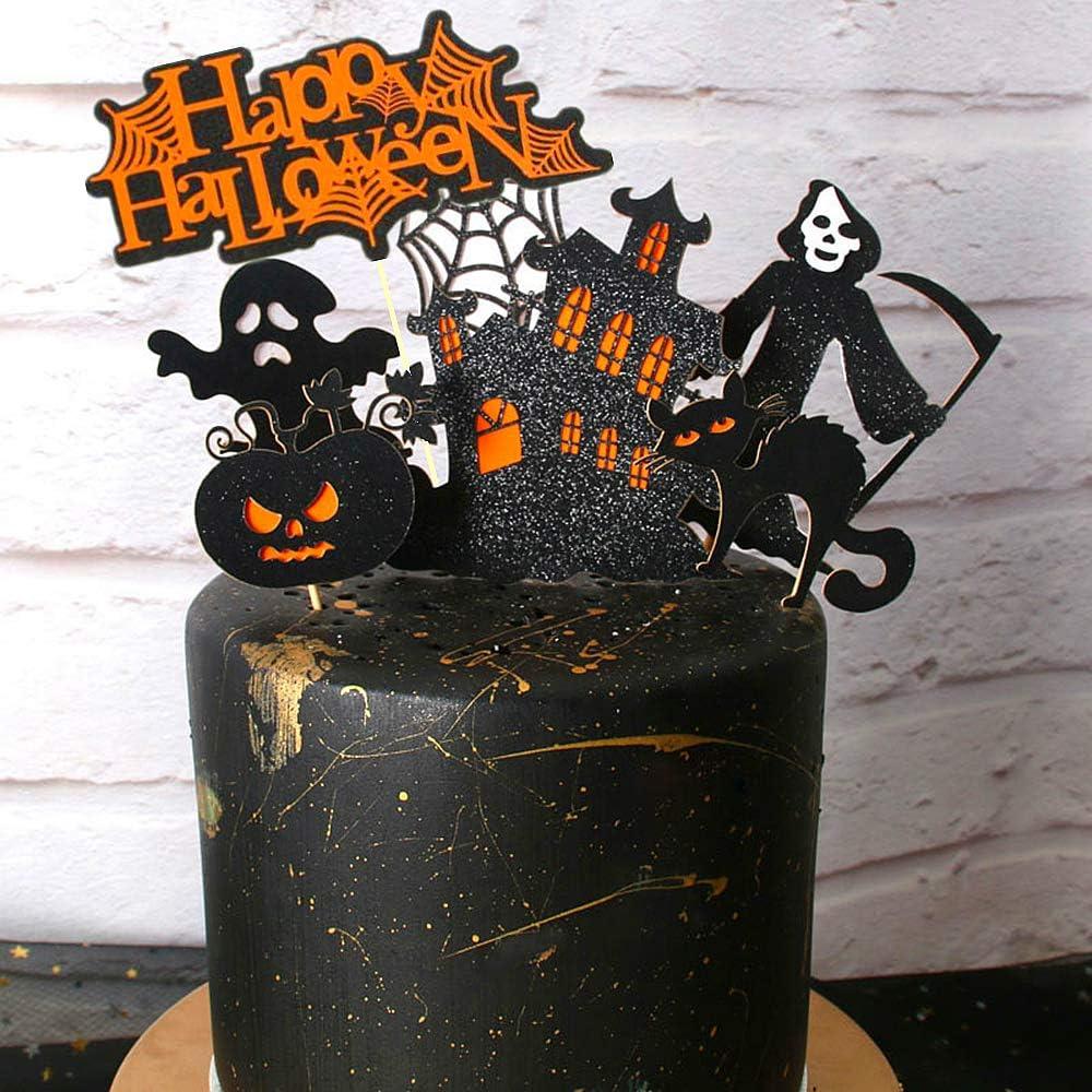 JeVenis 7 PCS Ghost Halloween Cake Topper Haunted House Cake Topper Halloween Cake Decoration Witch Cupcake Topper Ghost Cake Decoration