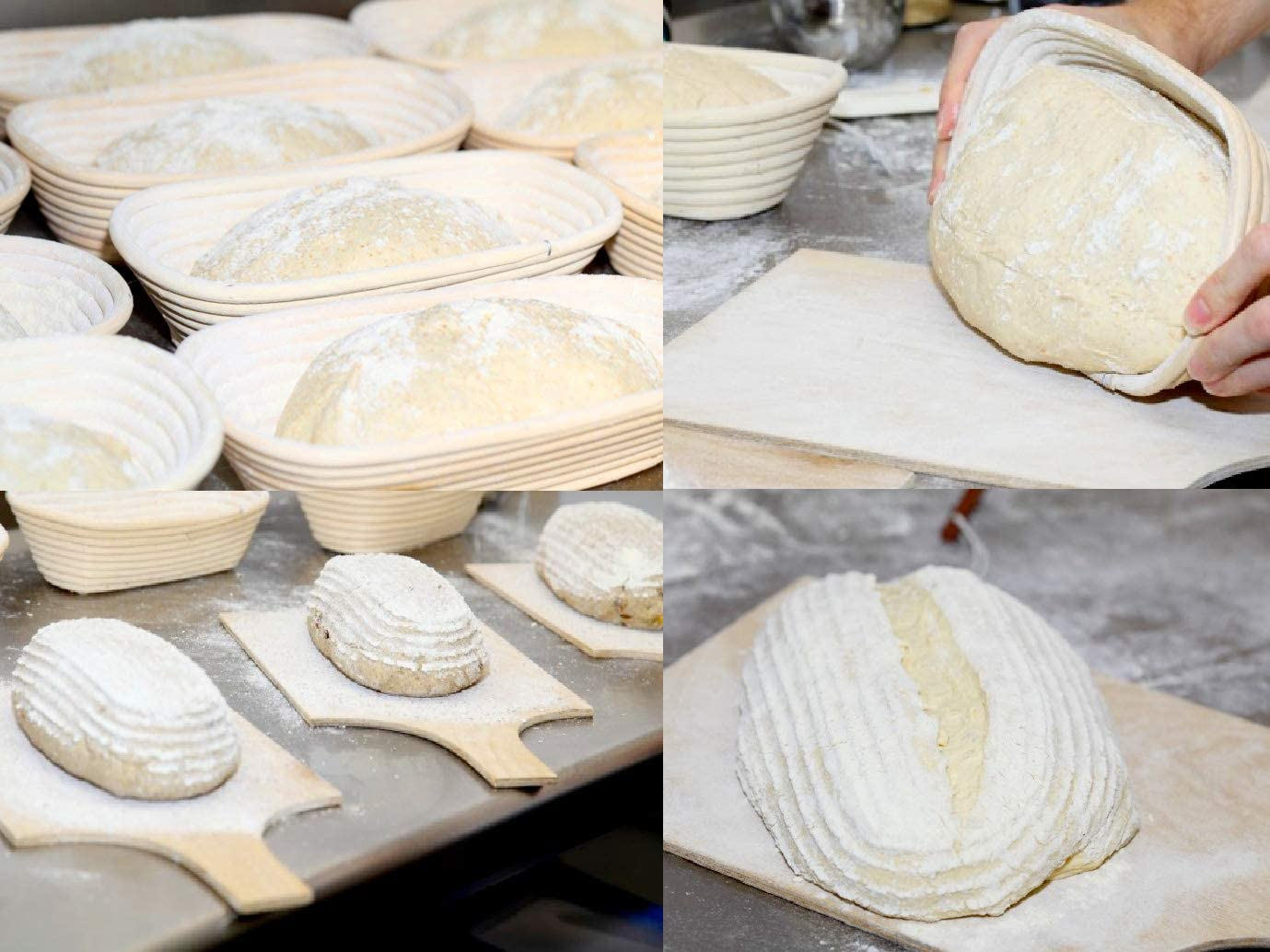 2x Round or Oval Bread Proofing Proving Baskets With liners. Rattan Banneton Brotform Dough UK #1-round-13x6cm