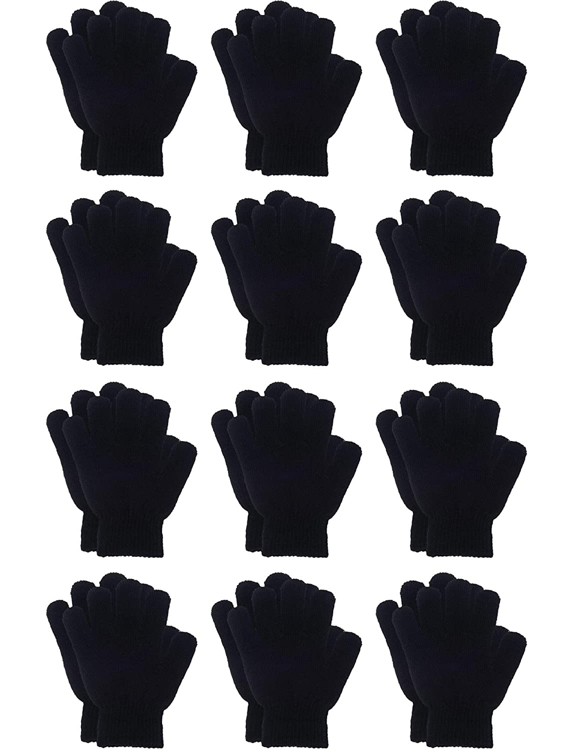 Sumind 12 Pairs Winter Knitted Magic Stretch Gloves Kids Boys Girls Knit Cotton Warm Gloves for Children