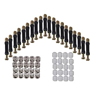 RDEXP Furniture Cabinet 15mm Dia Cam Head Fitting Connector with Dowel and Plastic Pre-inserted Nuts Set of 20