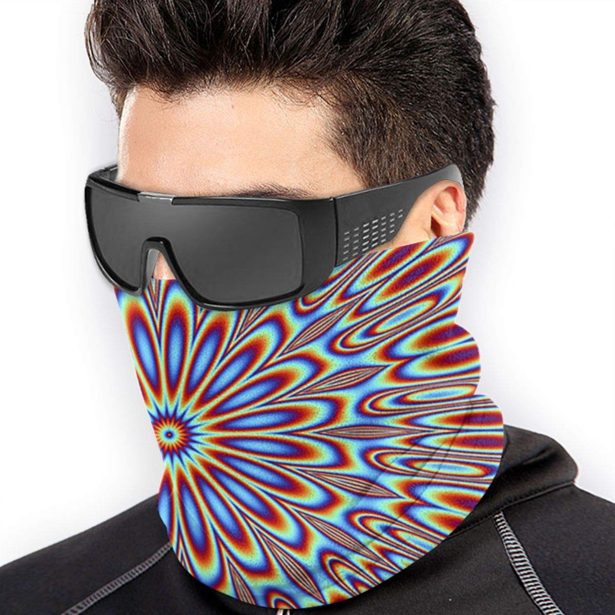 Alanader Tube Mask Stirnband Unisex Optical Illusion Spin Cycle Winter Fleece Neck Warmer Gaiters Hairband Cold Weather Tube Face Mask Thermal Neck Scarf Outdoor UV Protection Party Cover Black